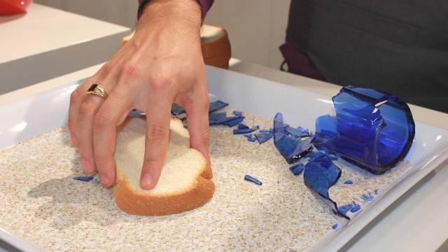 Bread away glass shards