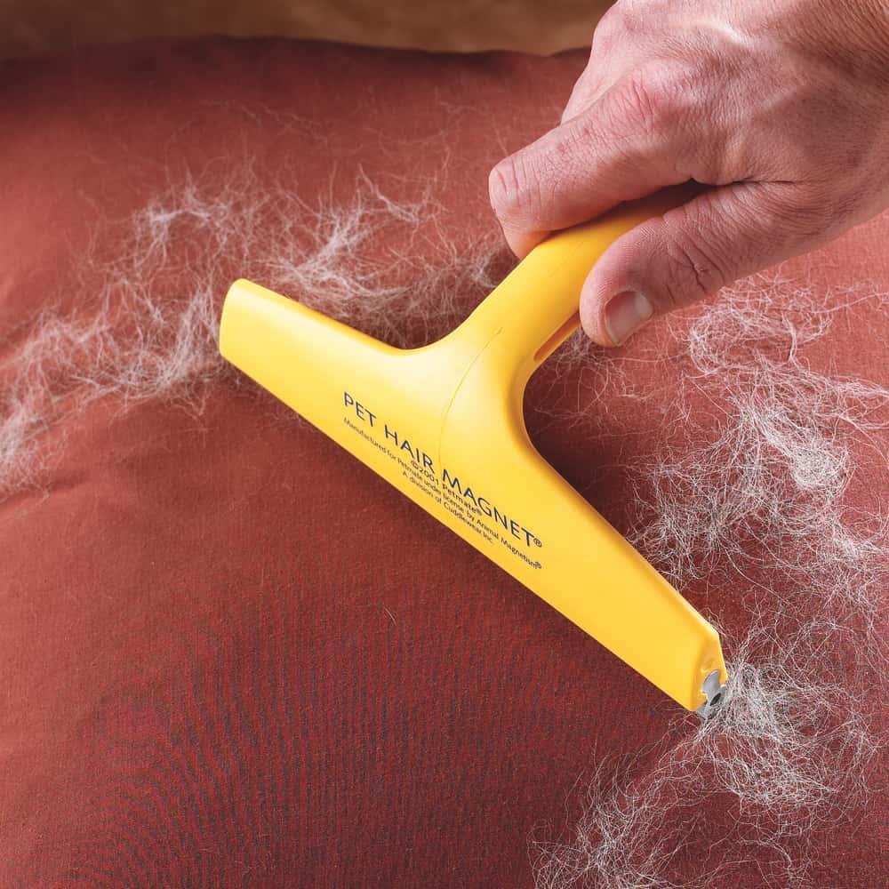 Rubber squeegee away pet hair